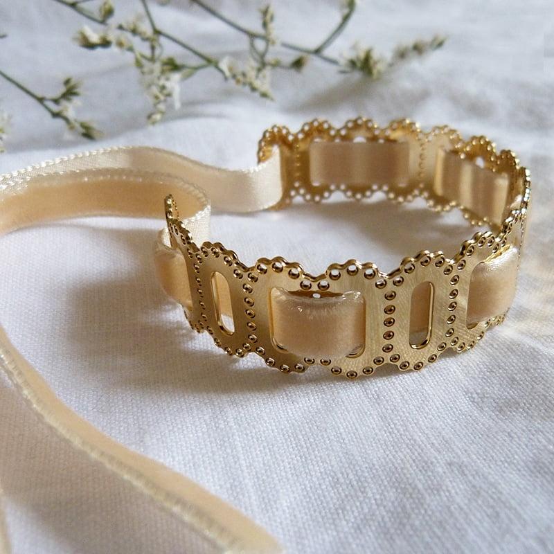 Bracelet Ovale dentelle Ruban velours Lin 3