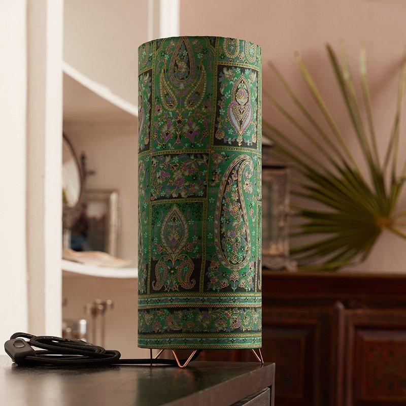 Lampe Tube Sari Vert Indien