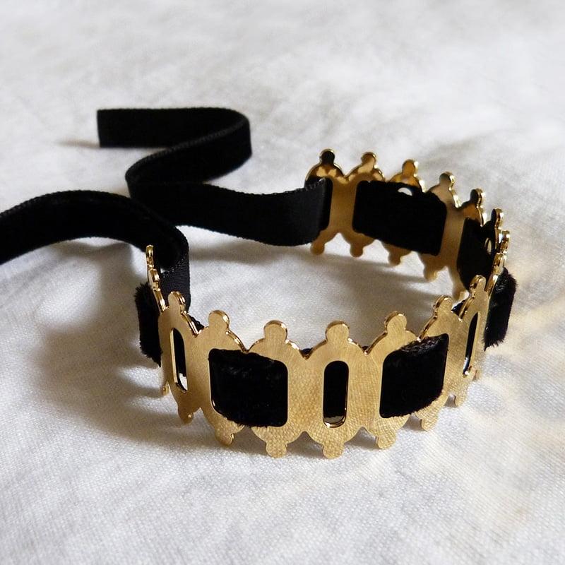 Bracelet Ovale Rond Velours noir 3